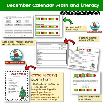 Calendar Keepers for December | Patterns |  Math Stations | [Literacy Pages]