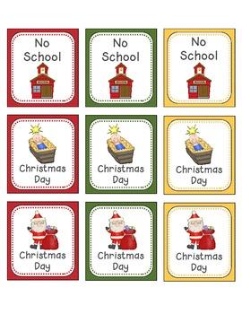 December Calendar Numbers