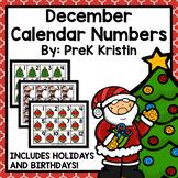December (Christmas Themed) Calendar Numbers