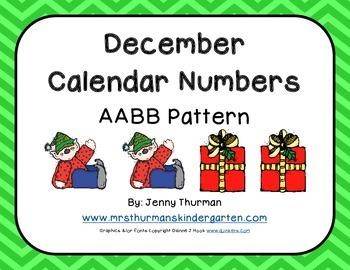December Calendar Numbers AABB Pattern