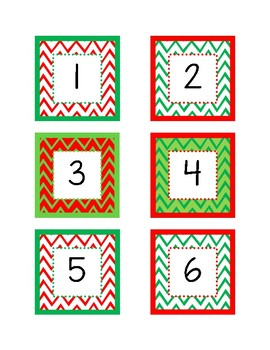 December Calendar Numbers (Chevron Christmas Colors)