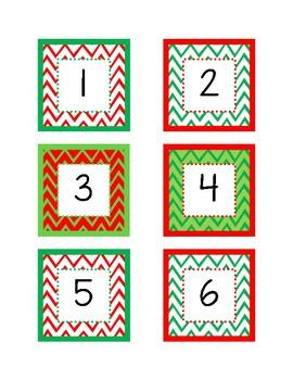 December Calendar Numbers (Chevron Christmas Colors)