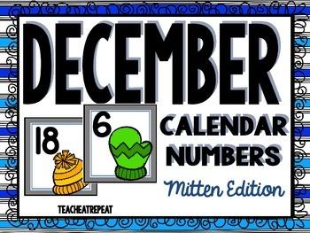 December Calendar Numbers: Mittens