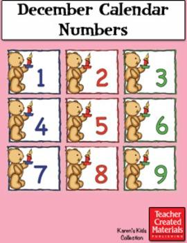 December Calendar Numbers by Karen's Kids (Digital Download)