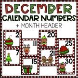 December Calendar Numbers for Pocket Chart Cards
