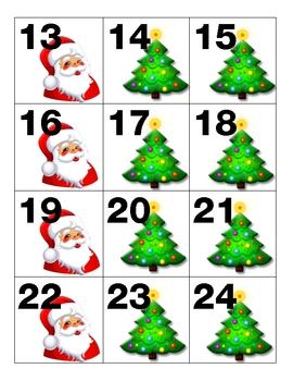 December Calendar Pieces Santa Christmas Tree ABB Pattern