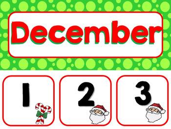 December Calendar Pieces & Word Wall--Christmas, Winter, Santa