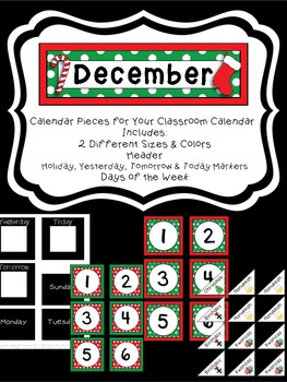 December Calendar Pieces to Use with Your Classroom Calendar