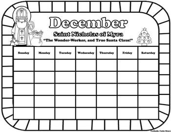 December Catholic Saint Calendar Activities -Saint Nicholas of Myra