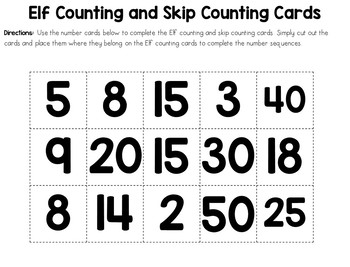 December Center - Elf Counting and Skip Counting Cards