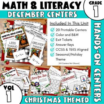 December Centers — First Grade Math and ELA