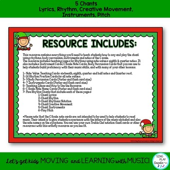 December Music Lesson, Chants, Activities: Rhythm, Body Percussion, Notes