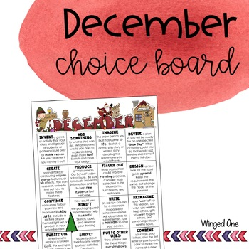 December Early Finishers: Choice Board