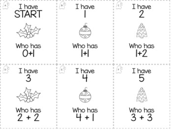 """December Christmas 1st Grade """"I Have, Who Has"""" Math Game Bundle"""