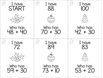 "December Christmas 1st Grade ""I Have, Who Has"" Math Game Bundle"