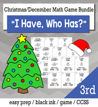 "December Christmas 3rd  Grade ""I Have, Who Has"" Math Game Bundle"