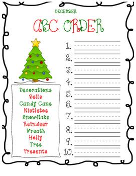 December Christmas ABC Order