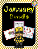 January-New Year's Bundle: no prep packet plus math and literacy center games