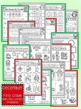 December Christmas First Grade Math and Literacy NO PREP Common Core Aligned