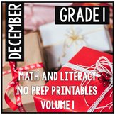 Distance Learning December Christmas First Grade Math and Literacy NO PREP