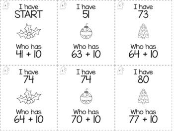 "December Christmas Kindergarten ""I Have, Who Has"" Math Game Bundle"