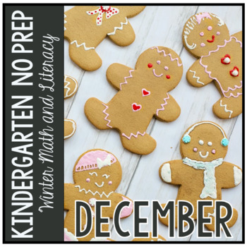 Distance Learning December Christmas Kindergarten Math and Literacy NO PREP