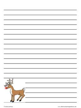 December Christmas Lined Writing Paper