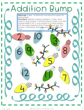 December Christmas Literacy Math Packet: Add, Fact Family, Check Answer Digraphs