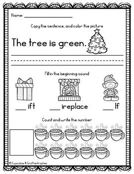 December/Christmas Morning Work for Kindergarten