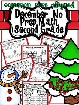 December Christmas No Prep ELa and Math Packet (2nd Grade)
