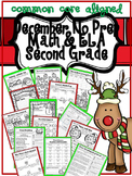 December Christmas No Prep Second Grade ELA and Math Packet