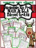 December Christmas No Prep Second Grade ELA and Math Packet