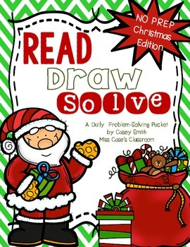 No Prep Christmas Read Draw Solve - Addition & Subtraction Problem Solving to 20