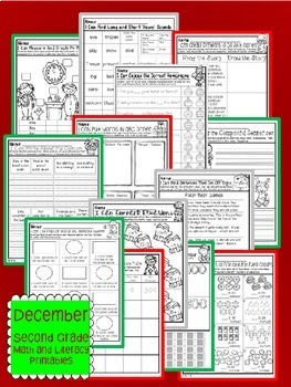 December Christmas Second Grade Math and Literacy NO PREP Common Core Aligned