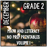 Distance Learning December Christmas Second Grade Math and Literacy NO PREP