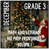 Distance Learning December Christmas Third Grade Math and Literacy NO PREP