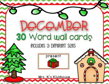 December/Christmas Word Wall Words