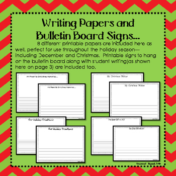December, Christmas, and Winter Bulletin Board Craftivity and Writing Printables