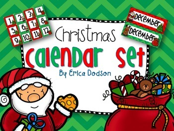December Christmas-themed Calendar Set in Chevron