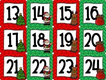 December Christmas-themed Calendar Set in Chevron