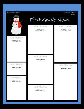 December Classroom Newsletter Template