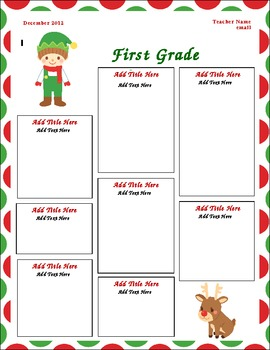 December Classroom Newsletter Template (Christmas Theme)
