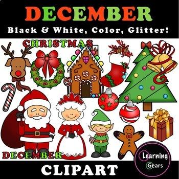 December Clipart - Black & White, Color, Glitter!
