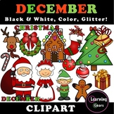 December Clipart - Black & White, Color, Glitter!