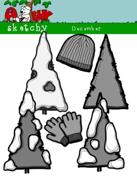 December Clipart / Graphics and Monthly Header 300dpi Color, Gray scale, BW