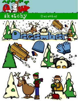December Clipart / Graphics and Monthly Header 300dpi Colo
