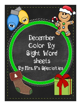 December Color By Sight Words