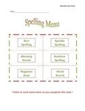 Spelling Menu-December