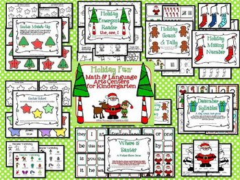 December Common Core Math and Language Art Centers for Kindergarten