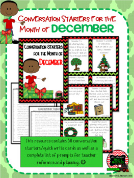 December Conversation Starters, Morning Meeting Ideas, Quick Writes, and More